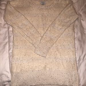 Cream Bebe top with sequins. Size large.